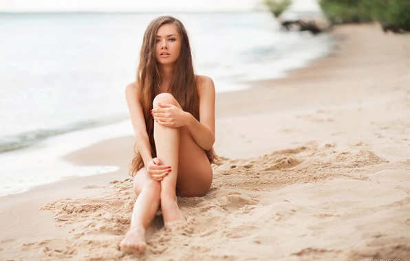 Picture sand, sea, beach, girl, pose, feet, hands, long hair, Taranda, Taras Taranda