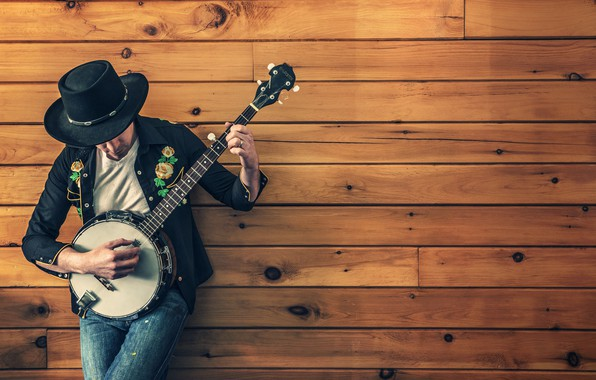 Picture pose, music, wall, the game, Board, guitar, hat, costume, male, musical instrument