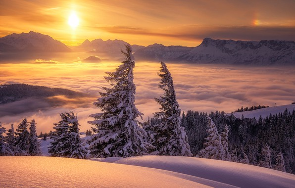 Picture winter, clouds, snow, trees, sunset, mountains, Austria, ate, Alps