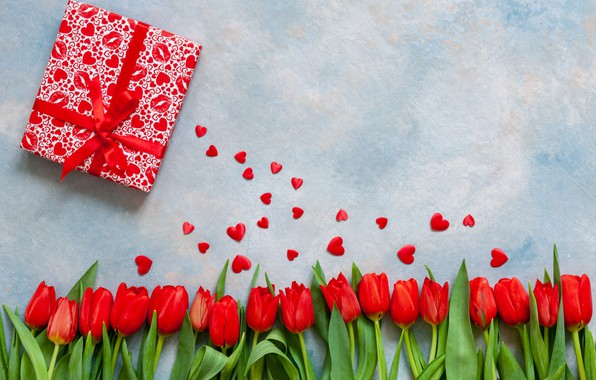 Picture love, gifts, hearts, tulips, red, love, romantic, hearts, tulips, valentine's day, Valentine's Day, gift box