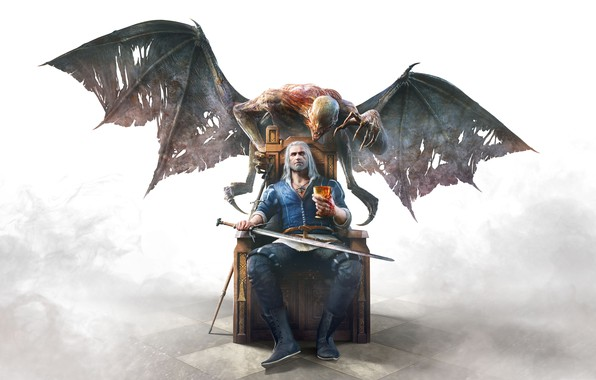 Picture Fog, Look, Smoke, Monster, Hair, Blood, Sword, Wings, The demon, Jacket, Floor, Claws, Monster, Pants, …