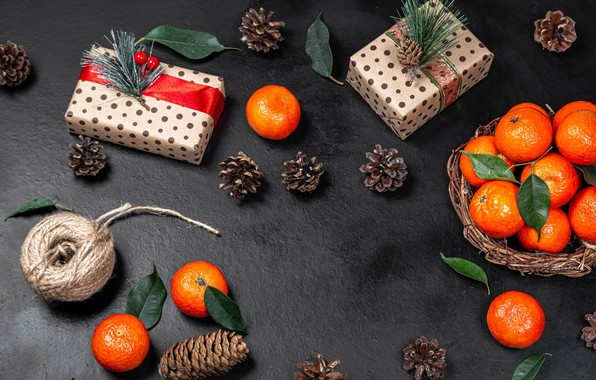 Picture New Year, Christmas, gifts, bumps, tangerines