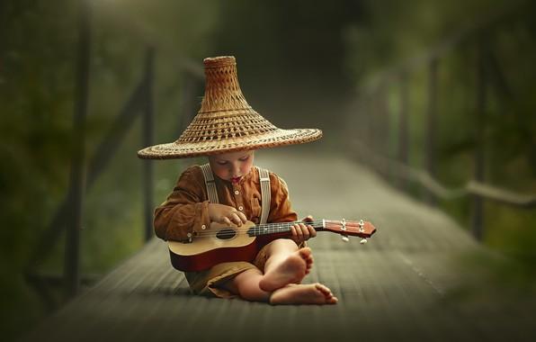 Picture bridge, guitar, hat, barefoot, boy, child, barefoot, Лысенкова Ксения