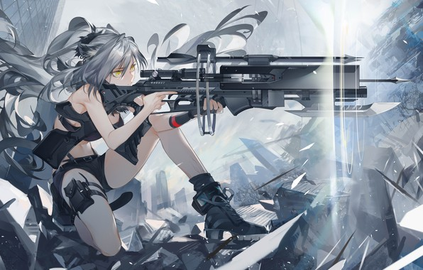 Picture girl, weapons, art, aiming, art, black, Arknights
