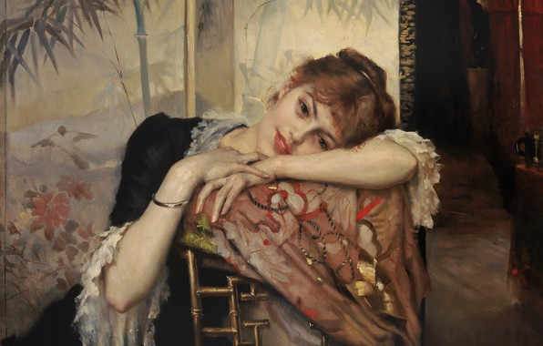 Picture 1883, Finnish painter, Albert Gustaf Aristides Edelfelt, Albert Edelfelt, The Parisienne, Parisian, Albert Gustaf Aristides ...
