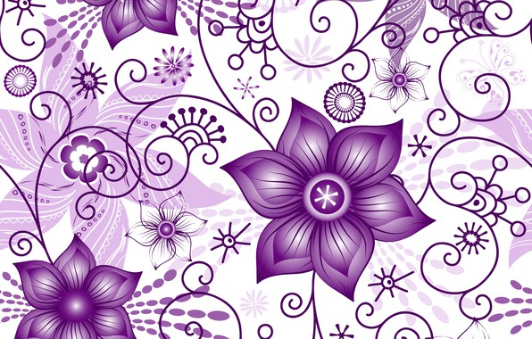 Picture flowers, texture, white background, white, pattern, spring, violet, Seamless