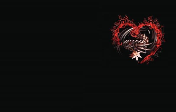 Picture dragon, heart, fantasy, art, Valentine, Valentine's Day, prazdnik