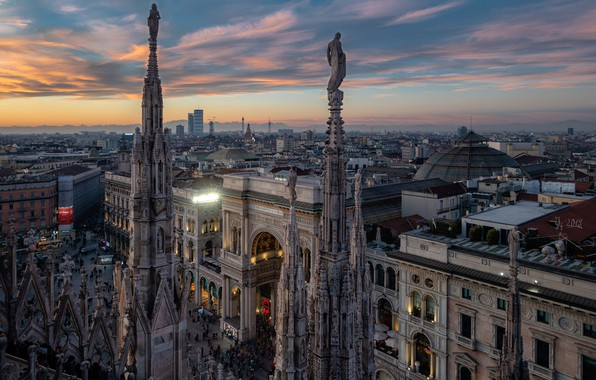 Picture the sky, clouds, sunset, lights, people, building, home, the evening, area, Italy, gallery, Cathedral, architecture, …