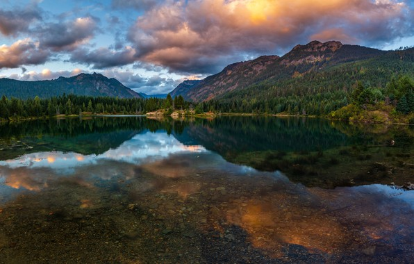 Picture forest, summer, the sky, clouds, mountains, reflection, stones, shore, the slopes, the bottom, pond, symmetry, …