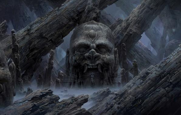 Picture fog, fear, head, mouth, fangs, horror, art, rite, Tianhua Xu, damn place, black magic