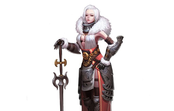 Picture Girl, Art, Queen, White, Minimalism, Sword, Characters, Armor, CHOI kwangsoon, Queen of the snowy