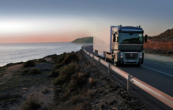 Picture road, black, coast, vegetation, the fence, truck, Renault, Magnum, tractor, 4x2, the trailer, Renault Trucks