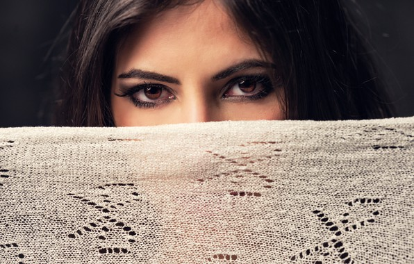 Picture girl, brown eyes, photo, photographer, background, model, face, brunette, scarf, portrait, close up, lace, looking …