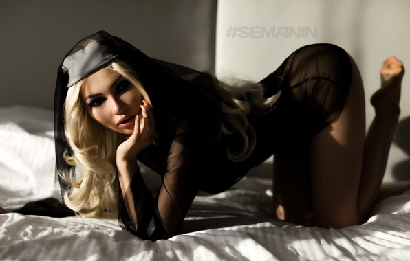 Picture look, sexy, pose, model, makeup, figure, hairstyle, blonde, bed, beauty, on the bed, bedroom, posing, …