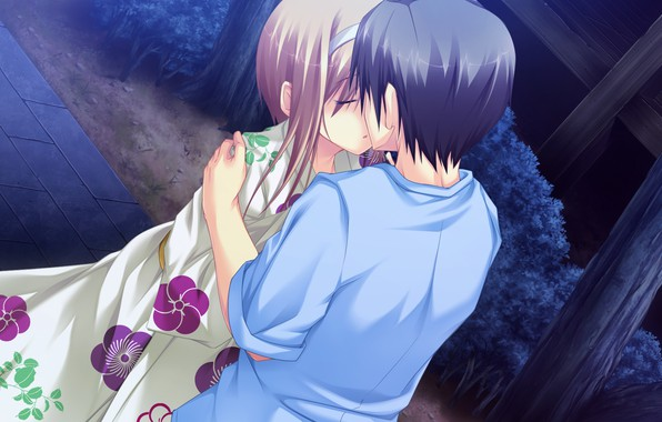 Picture kiss, the evening, yukata, date, visual novel, the guy with the girl, by Masato Satofuji, …