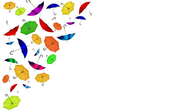 Picture umbrellas, white background, postcard, template, blank