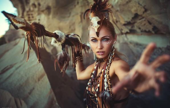 Picture girl, warrior, spear, Alex Noori