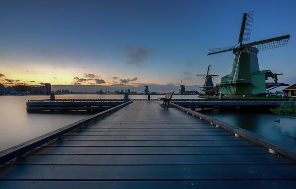Picture Windmills, Holland, North Holland, Zaandijk