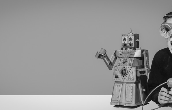 Picture robot, retro, boy, retrofuture, retrofuturism