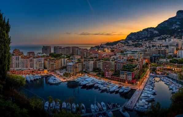 Picture sea, water, sunset, night, the city, lights, yachts, pier, Monaco, street, Monaco, Fontvieille, Fontvieille