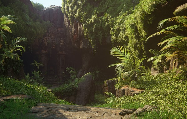 Picture island, jungle, temple, Naughty Dog, Playstation 4, Uncharted 4: A Thief's End