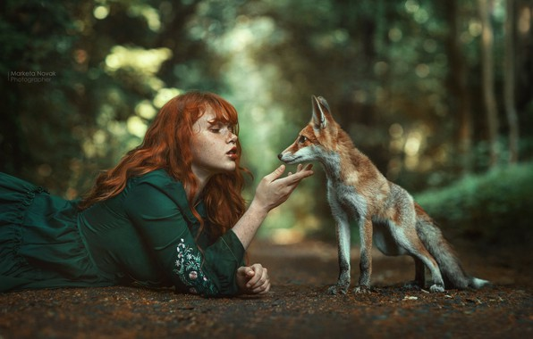 Picture girl, nature, face, pose, hands, dress, Fox, freckles, red, redhead, bokeh, Fox, Marketa Novak, freckled, …