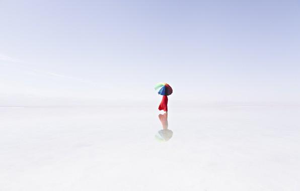 Picture fog, lake, reflection, umbrella, umbrella, lake, fog, reflection, Prasad Ambati
