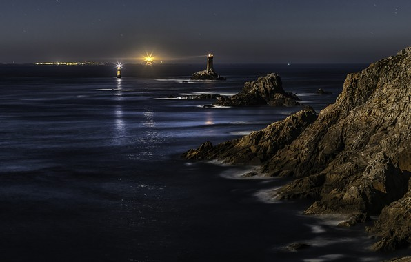 Picture sea, light, landscape, night, nature, stones, rocks, France, beacons, Brittany