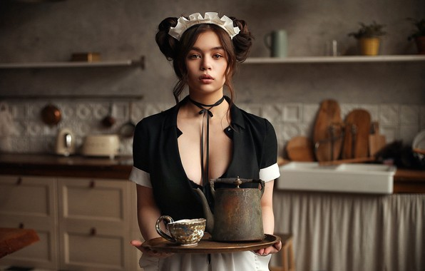 Picture look, pose, model, portrait, makeup, dress, kettle, hairstyle, kitchen, Cup, brown hair, is, in black, …