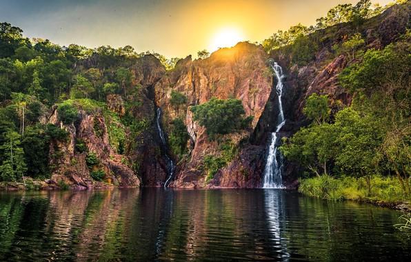 Picture autumn, landscape, nature, rock, lake, waterfall, beauty