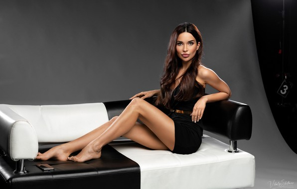 Picture look, pose, model, portrait, makeup, figure, dress, hairstyle, brown hair, legs, beauty, sitting, on the …