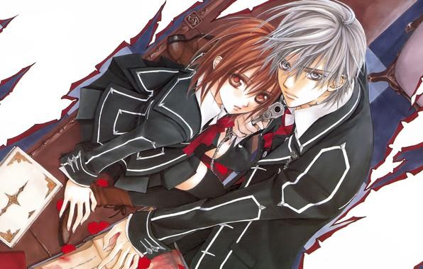 Picture book, school uniform, rose petals, art, yuuki cross, knight-vampire, look up, matsuri hino, zero kiryu, …