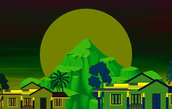 Picture mountains, home, The moon, vector graphics