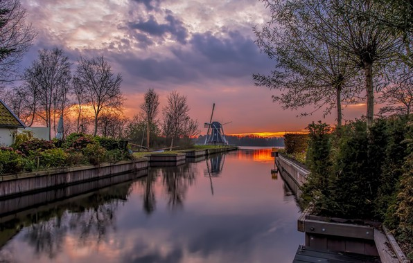 Picture sunset, river, mill