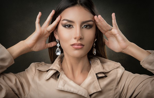 Picture look, girl, face, background, portrait, hands, makeup
