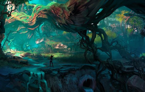 Picture city, fantasy, cars, trees, science fiction, figure, sci-fi, ruins, digital art, artwork, fantasy art, urban, …