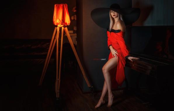 Picture pose, Girl, hat, dress, legs, neckline, Alexander Drobkov-Light, Carina Carina