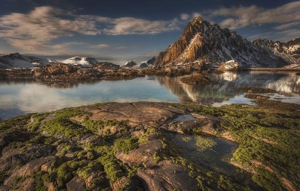 Picture mountains, lake, Norway, The Lofoten Islands, Lofoten Islands