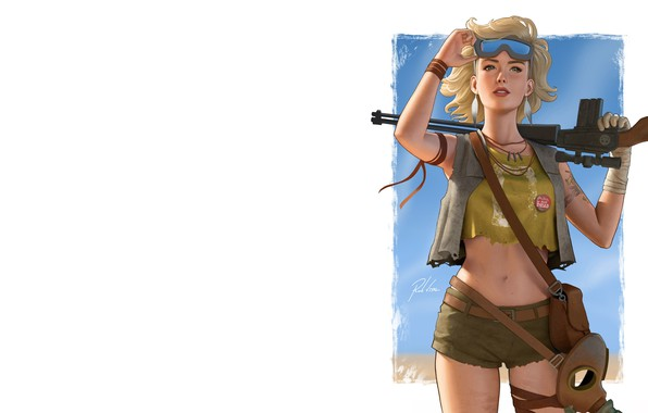 Picture girl, weapons, art, Rob Vital, Wasteland girl v2.1