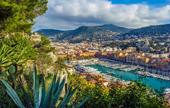 Picture mountains, France, building, home, Bay, yachts, port, panorama, France, Cote d'azur, French Riviera, Nice, Nice, …