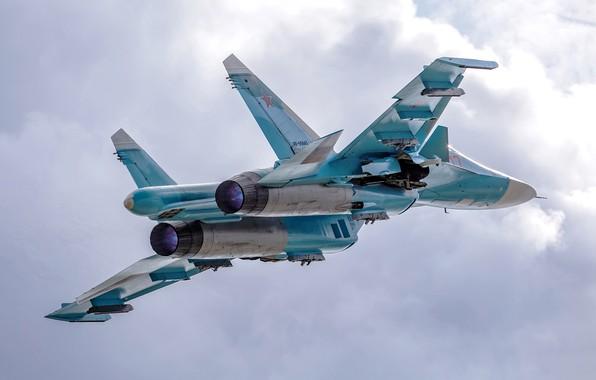 Picture the sky, flight, fighter-bomber, Su-34, Su-34