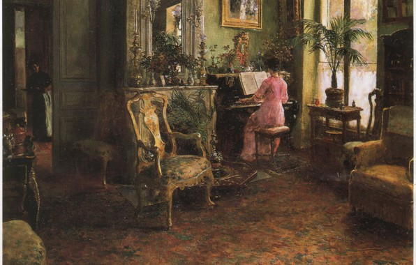 Picture room, chair, AN AFTERNOONS ENJOYMENT, woman at the piano, ARANDA