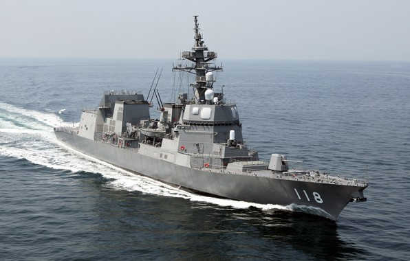 Picture The ocean, Sea, Wave, Deck, Destroyer, Maritime self-defense force of Japan, The self-defense forces of …