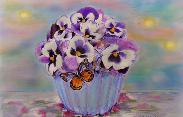 Picture Figure, Flowers, Pot, Pansy