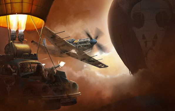Picture machine, the plane, balloon, weapons, skull, art, the fire