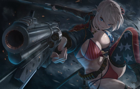 Picture Girl, Chest, Stars, Look, Blonde, Smile, Girl, Belt, Weapons, Tits, Hot, Gun, Gun, Stars, Boobs, …