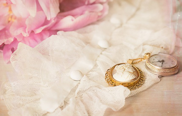 Picture watch, fabric, vintage, cameo