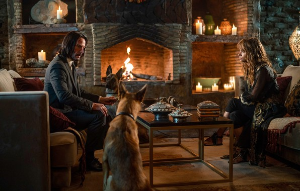 Picture dogs, table, castle, sofa, fire, woman, candles, male, fire, fireplace, Halle Berry, woman, man, Keanu …