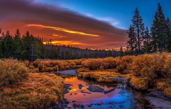 Picture autumn, forest, the sky, clouds, light, sunset, reflection, river, blue, shore, the evening, ate, river, …