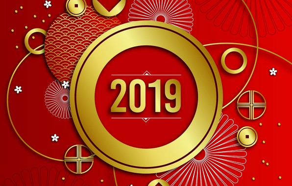 Picture red, graphics, New year, 2019